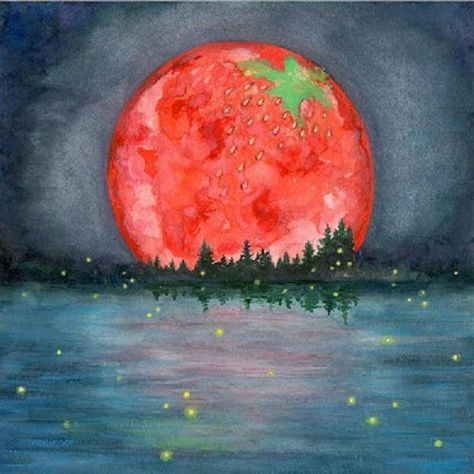 •°• L i t h a •°• Strawberry Moon during the 2016 Summer Solstice! Very rare event!!