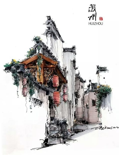 An entrance to a traditional Chineses residence of Anhui-style, marker pen painting by Chinese artist Shi Zhifang - All Things Chinese - Google+