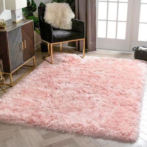 Pink Fur Rug, Pink Shag Rug, Glitter Bedroom, Gold Office Decor, Plush Area Rugs, Pink Carpet, Fluffy Rug, Plush Carpet