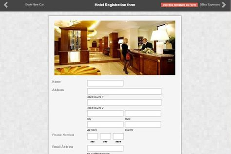 Here S A Sample Of A Hotel Registration Form Made By One Of Our Clients Using Form2go Get Up To 3 Reports Perform I Registration Form Form Builder Online Form