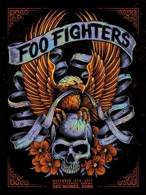 Foo Fighters Des Moine Print Be Brandon Heart Artist Edition Release