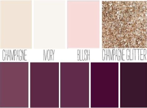 Blush, plum, ivory, champagne sparkle wedding color palette.