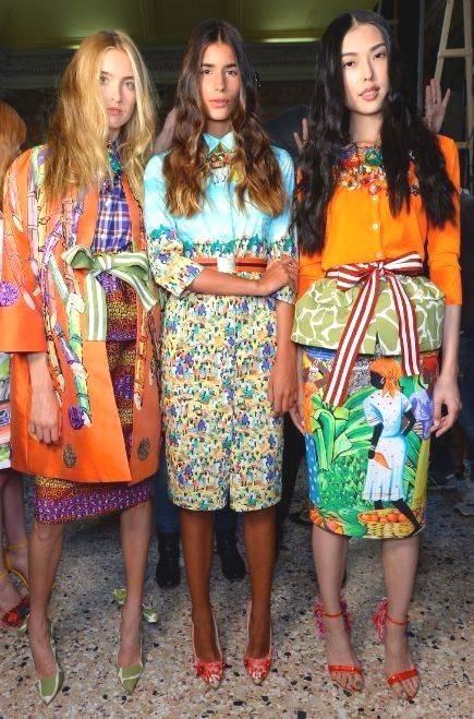 STELLA JEAN, Milan Fashion Week Spring models backstage in vibrant colours and fabulous prints.