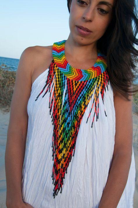 Collares artesanales mostacilla arte color hecho a mano   Etsy