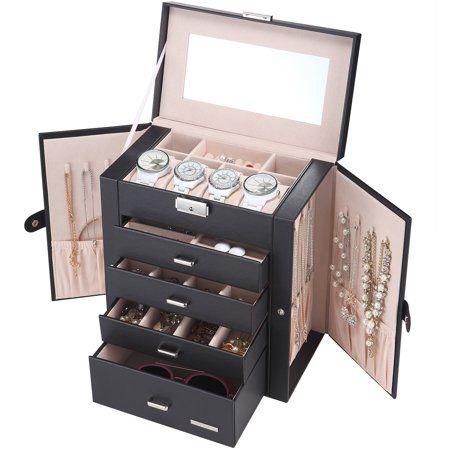 Mllieroo Leather Jewelry Box Watch Organizer With Mirror Black