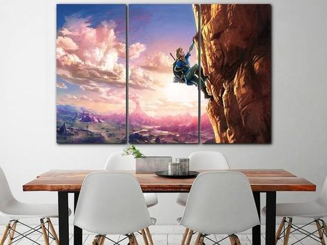 The Legend Of Zelda Canvas Zelda Decor Game Wall Art Video Game Art Playroom Canvas Zelda Canvas Kids Poster Kids Room Decor Girl Room Print Gaming Wall Art World Map Decor