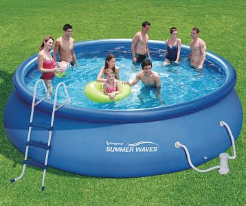Summer Waves Metal Frame Pool 14 X 36 Big Lots In 2020 Pool Summer Waves Pool Ladder