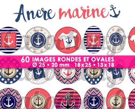 Ancre Marine ☆ 60 Images Digitales Numériques RONDES 25 et 20 mm et OVALES 18x25 et 13x18 mm