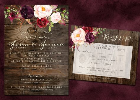 Rustic Wood and Burgundy / Plum, Marsala and Blush Wedding Invitation Set, With Envelopes, Printable Digital Files or Printed and Shipped by InvitingLeeLee on Etsy