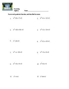 Factoring Quadratics Worksheet Factoring Quadratics Quadratics