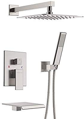 Embather Shower System With Waterfall Tub Spout Shower Faucet Set With 12 Quot Rain Shower Head Wall Mounted Rain Shower Head Rain Shower Shower Faucet Sets