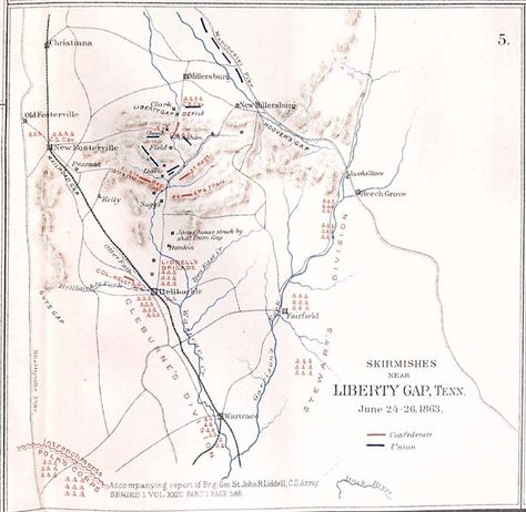 "June 27, 1863: James wrote about the constant rain and muddy roads during the Tullahoma Campaign. The Union army had to fight for control of three primary gaps through a range of high hills, shown on this map. ""Skirmishes near Liberty Gap, Tenn., June 24-26, 1863,"" Atlas to Accompany the Official Records of the Union and Confederate Armies. Washington: Government Printing Office, 1891–1895. Missouri History Museum"