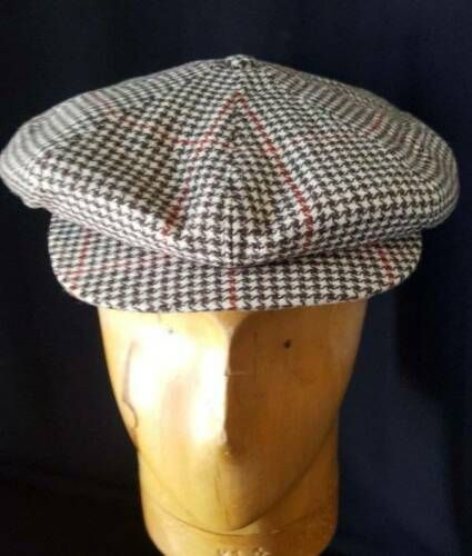 2c1b6760b Details about STRAND Cap Vtg 1930s Floppy Hounds Tooth Tweed Newsboy ...
