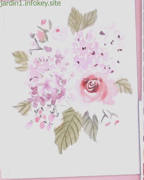 Loose Watercolor Hydrangea And Rose Bouquet Youtube