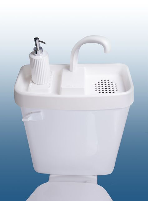 Replace your toilet tank lid with a sink. Save Space, Water, and Money! Bus Living, Tiny House Living, Home Crafts, Diy Home Decor, Diy Crafts, School Bus Tiny House, Van Home, Diy Camper, Remodeled Campers