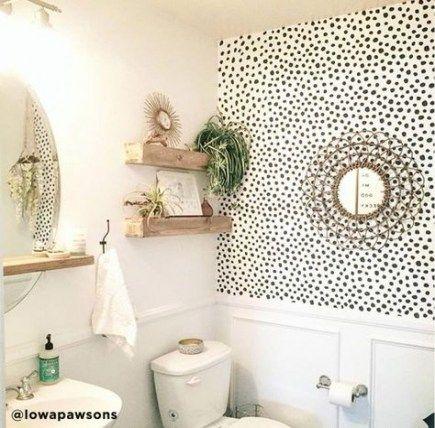 20 Super Ideas For Wall Paper Accent Wall Bathroom Half Baths Polka Dots Small Bathroom Decor Bathroom Wallpaper Bathroom Decor