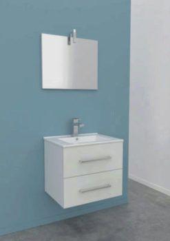 Meuble De Salle De Bain Celia Avec Vasque Et Miroir Blanc L 600 Mm Meuble De Salle De Bain Salle De Bain Miroir Blanc