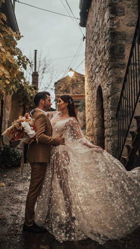 Counting Stars Boho Wedding Dress by Boom Blush. Unique Vintage Bohemian Backless Gown 2019 with Sleeves, Unique Lace and A Line Skirt Counting Stars Boho Wedding Dress by Boom Blush. Star Wedding, Princess Wedding, Dream Wedding, Wedding Summer, Luxury Wedding, Garden Wedding, Counting Stars, Boho Wedding Dress, Wedding Gowns