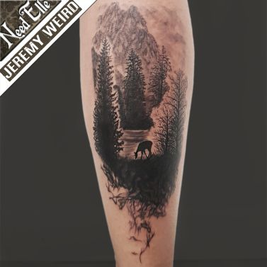 Forest Landscape Tattoo By Jeremy Weird At Need Elle Tattoo Shop