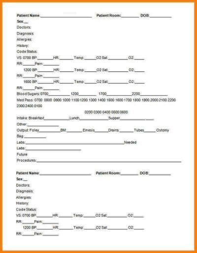 Nursing Handoff Report Template | Nursing | Report template