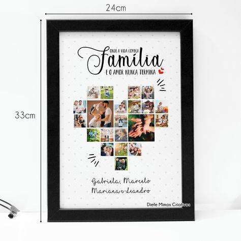 Quadro família personalizado com fotos. Acompanha moldura com vidro tamanho 33x24cm. (opções: preto ou branco)