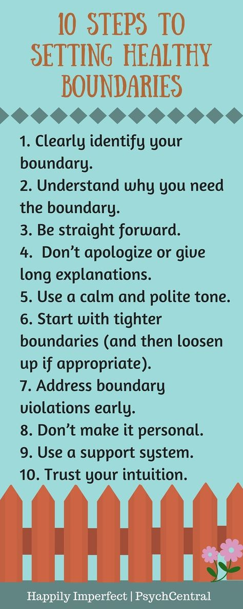 "10 Steps to Setting Healthy Boundaries. Knowing, who you are, what you stand for & what you believe in is part of healthy mind wellbeing. From these values & beliefs, come healthy boundaries. Set your boundaries,  and be aware when people try to cross them. And most important of all learn to say ""No""."