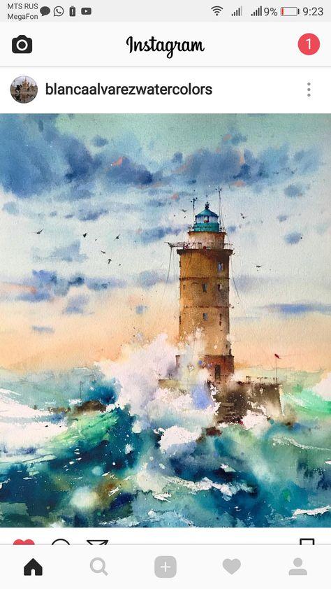 Epingle Par Danny Sur Pintura Peinture De Phare Mer Aquarelle