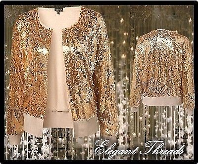 Topshop Gold Sequin Cardigan Shrug Top Party UK 8 RARE Gatsby Jazz ...