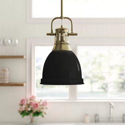 Beachcrest Home Bodalla 1 Light Single Bell Pendant Finish Aged Brass Shade Color Black Black Pendant Light Stylish Pendant Lighting Pendant Lighting