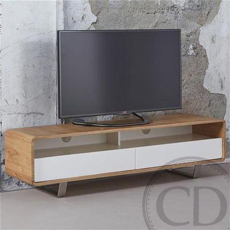 Meuble Tv Scandinave En Chene Et Laque Blanc Pieds Inox Warm Meuble Blanc Et Bois Meuble Tv Scandinave Meuble Tv