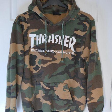 Thrasher #hoodie Skateboard Hip Hop Camouflage Pullover