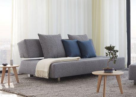 Canape Convertible Gris Sans Accoudoirs Design Scandinave Long