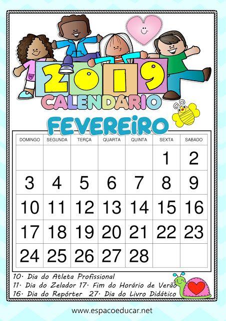 Calendario Fevereiro De 2019 Lindo Para Imprimir Com Feriados E