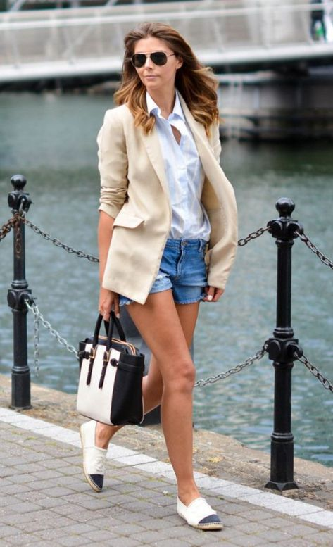 Chanel espadrilles and creamy coloured blazer outfit