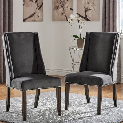 Harlow Velvet Wingback Dining Chair With Nailheads Set Of 2 Dark