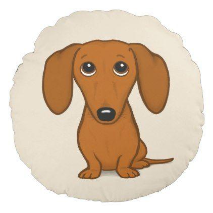 Cute Red Dachshund Funny Cartoon Wiener Dog Round Pillow