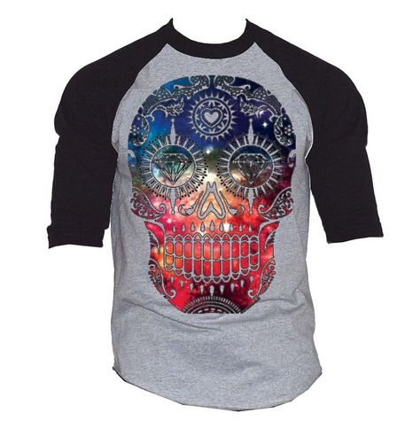 New Galaxy Skull Men's Baseball T-Shirt Black/Gray S-3XL - My Sugar Skulls