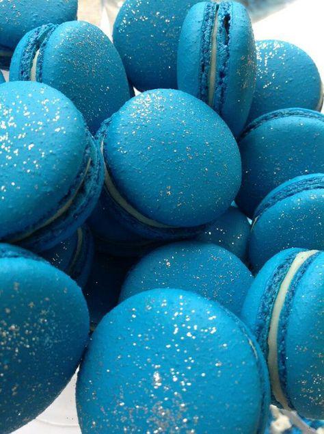 Blue Macaroons #Blue #Macaroons #Yummy ❤