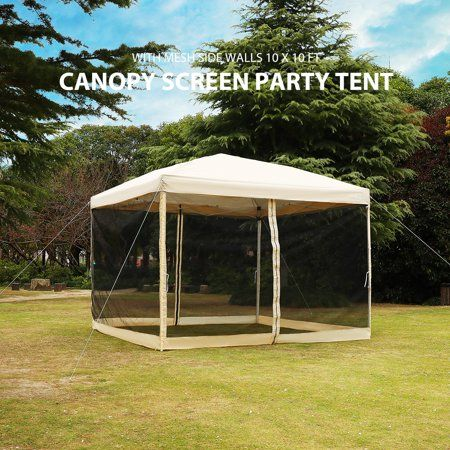 Pop Up Canopy With Netting Screen House Instant Gazebo Party Tent 10 X 10 Ft Beige Walmart Com Party Tent Screen House Tent