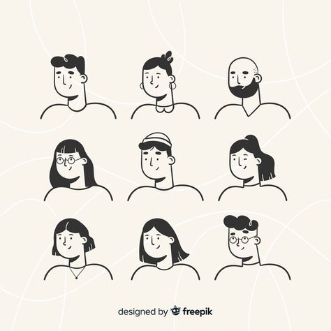 Download Hand Drawn People Avatar Pack for free