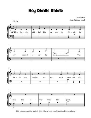 Hey Diddle Diddle Sheet Music Guitar Chords For Songs Beginner Piano Lessons
