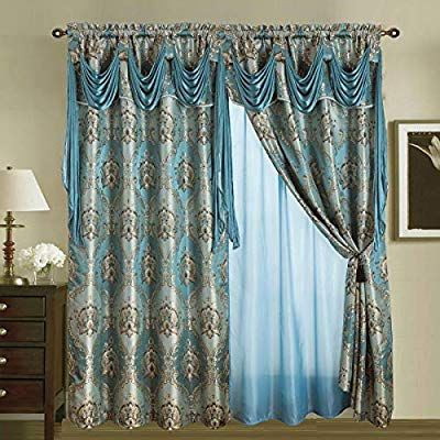 Amazon Com Sapphire Home Jacquard Window 84 Inch Length Curtain Drapes W Attached Valance Scarf Sh Curtains Living Room Traditional Curtains Drapes Curtains