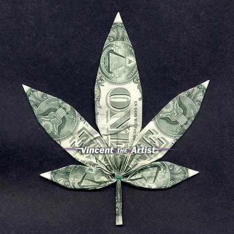 MARIJUANA Dollar Bill Pot Leaf Made from Real Money - Great 4 Weed Shop - Cannabis