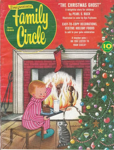"December 1960 Family Circle magazine, Featured inside is the story ""The Christmas Ghost"" by Pearl S. Buck, illustrated by Gyo Fujikawa."