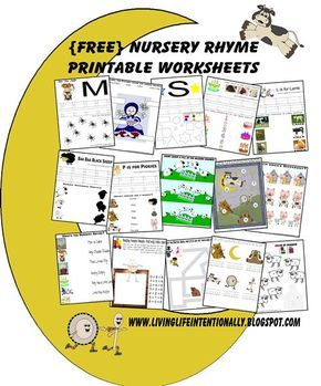 FREE Nursery Rhymes worksheets, lapbook, and more. SO CUTE! Perfect