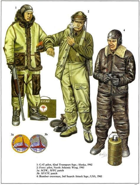 1. C-47 pilot, 42nd Transport Squadron; Alaska 1942 2. Ferry Pilot, North Atlantic Wing, 1943 3a. ACFC, AFFC patch 3b. AFATC patch  4. Bomber crewman, 3rd search attack squadron, USA 1943