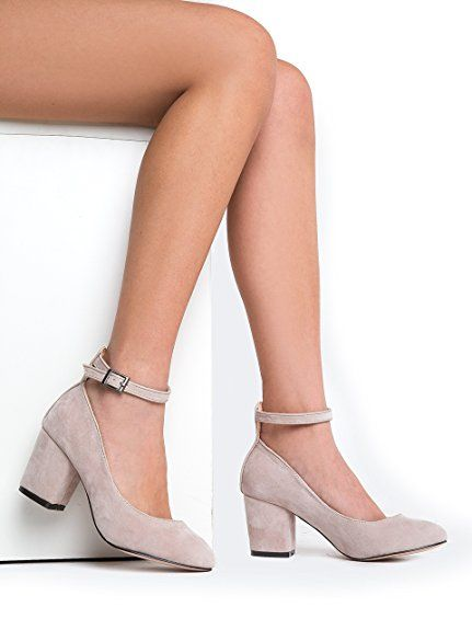 19c19f4a2ab8c5 Amazon.com   J. Adams Low Ankle Strap Heel - Wide Strap Block Heel - Round  Toe Dress Shoe - Comfortable Trendy Strappy Low Heel - Darling   Shoes