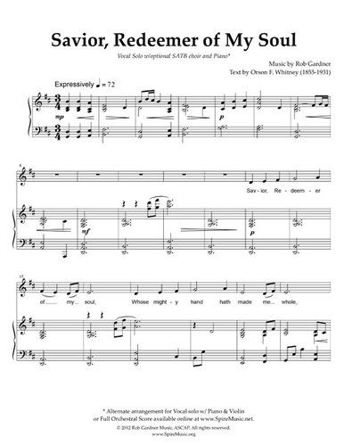 Savior Redeemer Of My Soul Vocal Solo Sheet Music