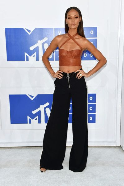 Joan Smalls in a Leather Corset and Zippered Pants - Best Dressed at the 2016 MTV VMAs - Photos