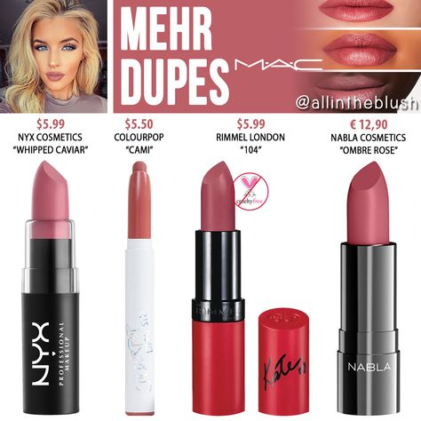 """MAC Mehr Lipstick Dupes I have another MAC Cosmetics Lipstick dupe to share with you! The next shade up on the dupe list is """"Mehr"""", a dirty blue . Nabla Cosmetics, Mac Cosmetics Lipstick, Lipstick Swatches, Lipstick Colors, Lipstick Mac, Maroon Lipstick, Liquid Lipstick, Orange Lipstick, Mac Makeup"""